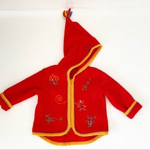Hanna Andersson Red Gnome Hooded Mouse Jacket
